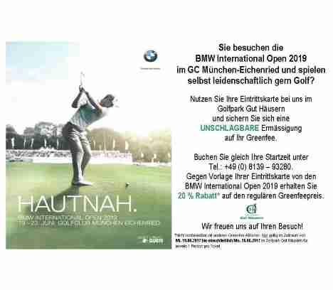 Nutzen Sie Ihre Eintrittskarte zur BMW Open im Golfpark Gut Häusern