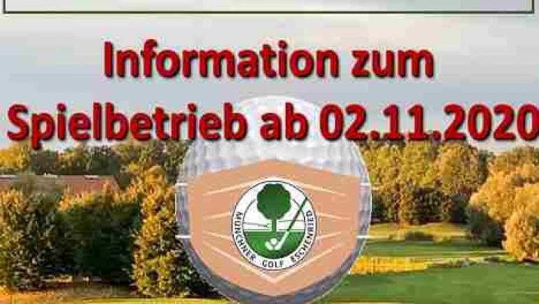 Information zum Spielbetrieb ab Montag 02.11.2020
