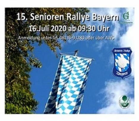 15. Senioren Rallye Bayern am 16.07.2020 im Golfpark Gut Häusern