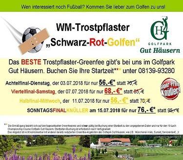 """WM- Trostpflaster """"Schwarz-Rot-Golfen"""" im Golfpark Gut Häusern"""