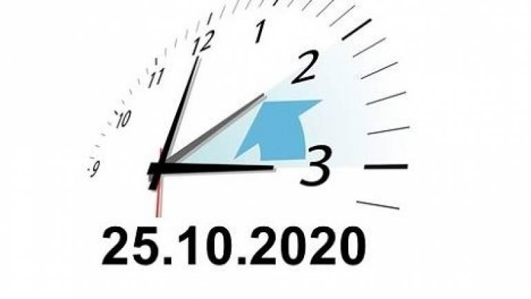 Achtung -Bitte Zeitumstellung am 25.Oktober 2020 beachten!